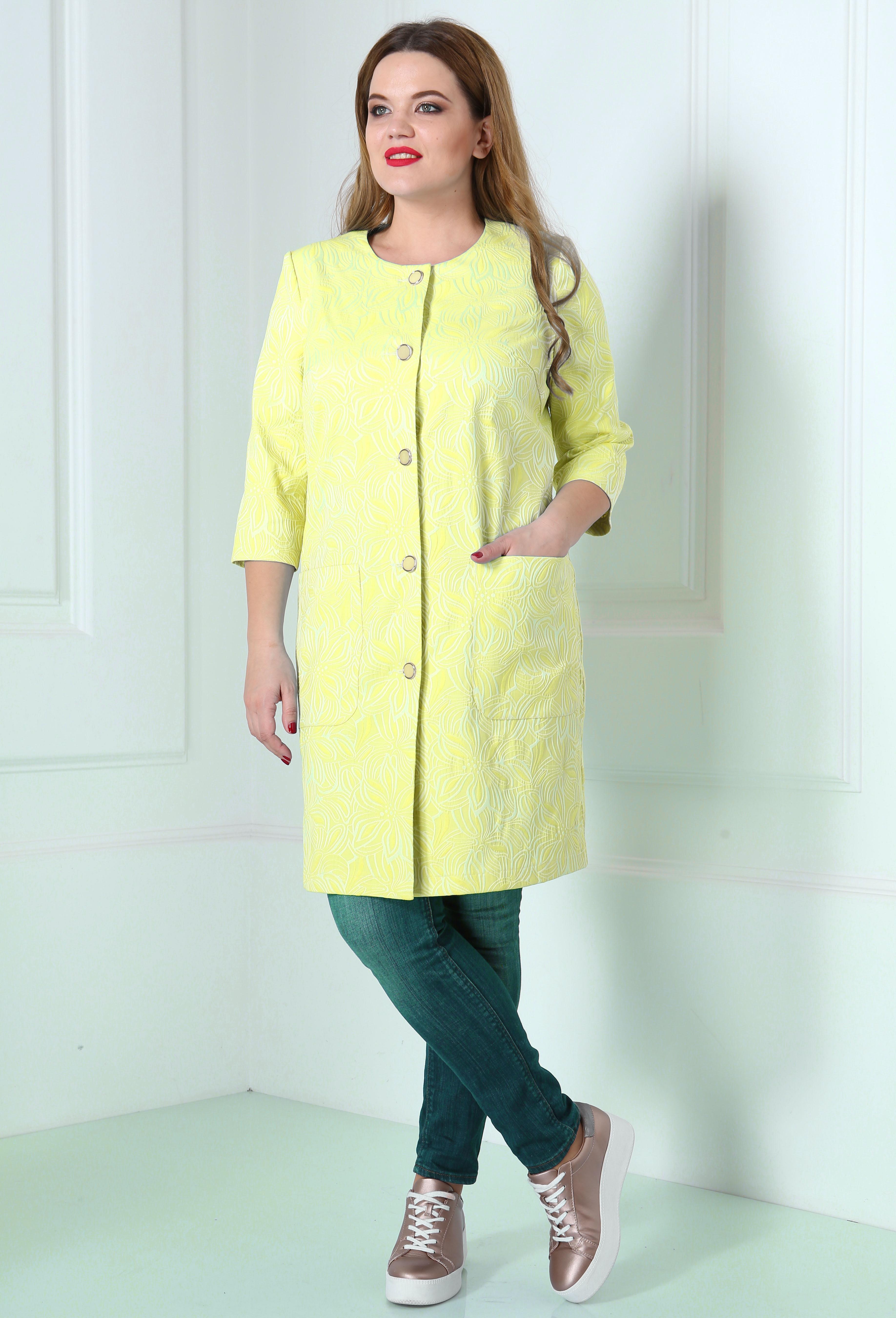 Пальто Anastasia Mak 361 желтый вензеля